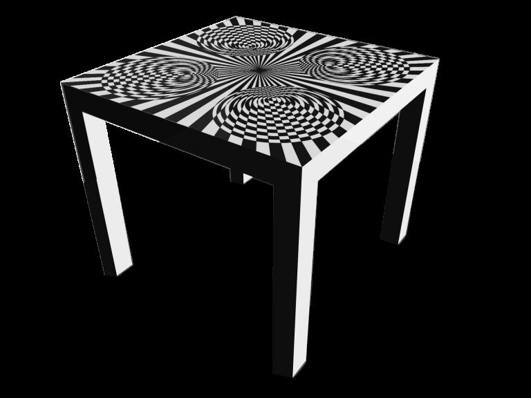 Op-Art Tisch 90x90cm Grafik 12