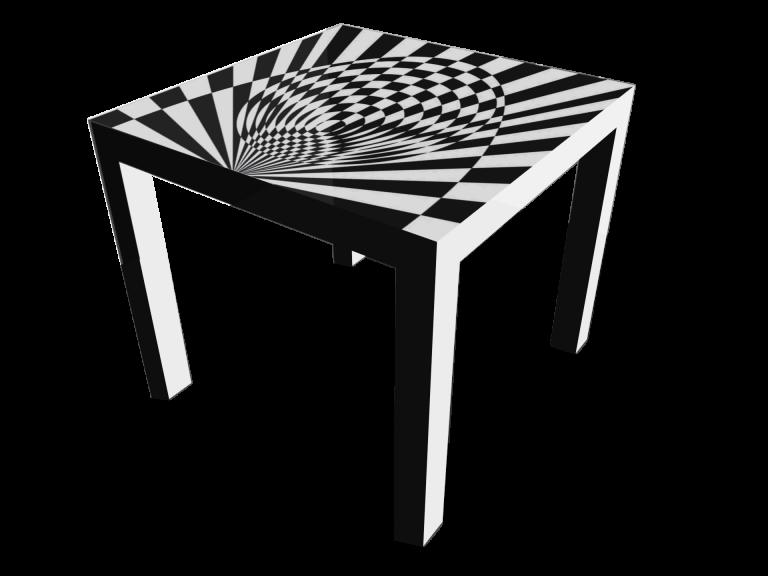 Op-Art Tisch 90x90cm Grafik 14