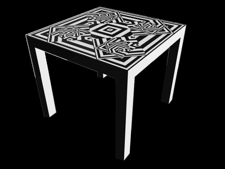 Op-Art Tisch 90x90cm Grafik 16