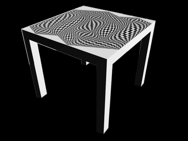 Op-Art Tisch 90x90cm Grafik 17