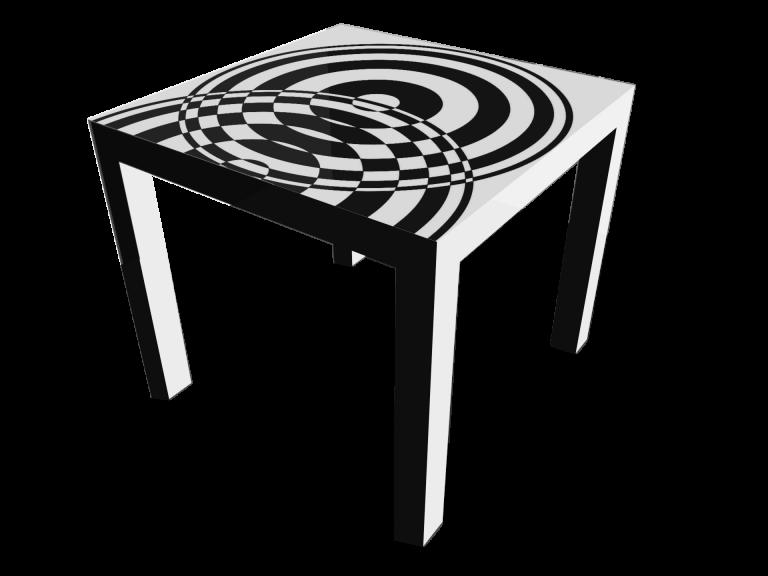 Op-Art Tisch 90x90cm Grafik 08