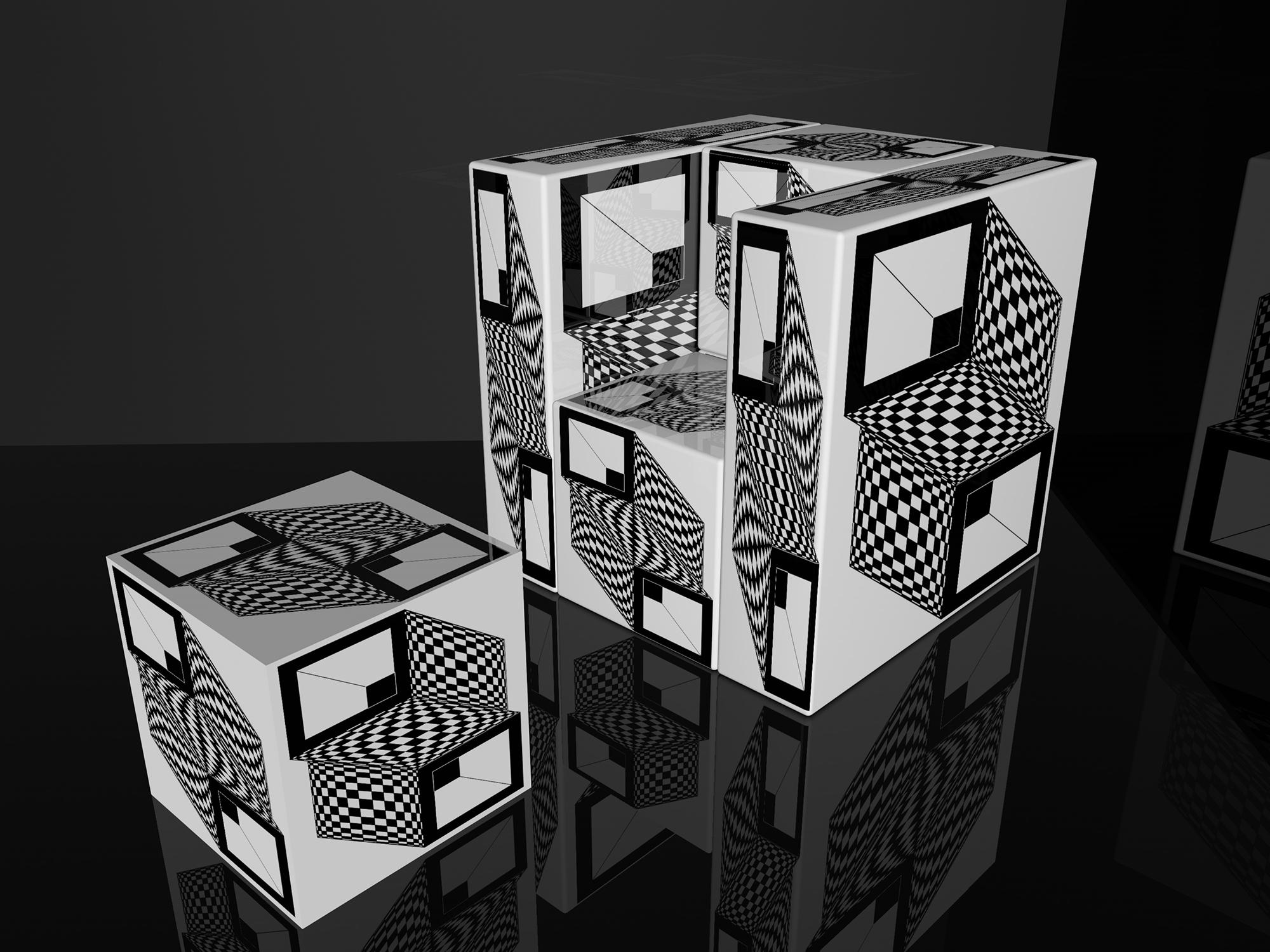 Op-Art Möbel Cubes